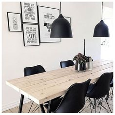 I love the natural wood table!- I love the natural wood table! I love the natural wood table! Grey Dining Room Furniture, Dining Room Walls, Dining Room Design, Home Furniture, Desenio Posters, Natural Wood Table, Scandinavian Style Home, Kitchen Interior, Sweet Home