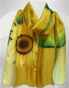 Hand painted silk scarf with a pattern of yellow sunflower, scarves, shawl 43.13$