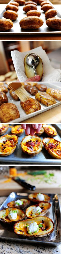 Pioneer Woman Potato Skins - Great recipe with step by step drool-inducing photos & clear instructions. Love her writing too! - Heh, can't wait to try this! =D