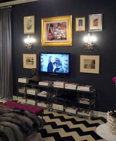 Disguise the TV on a Black Wall | Apartment Therapy