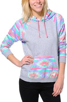 Neff Vacation Grey & Native Print Pullover Hoodie at Zumiez : PDP