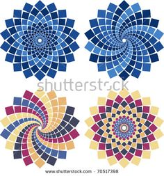 Vector mosaic flower in different colors and styles