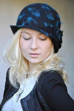 """Шляпка """"Бирюзовые капли"""" - шапка,шляпка,валяная шляпка,Елена Ост,в горошек"""