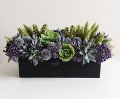 Artificial Succulent Arrangement / Faux Succulents / Wood Planter / Purple / Green / Brown