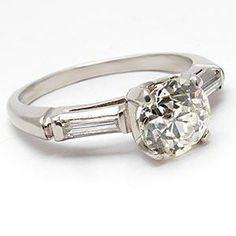 VINTAGE CONFLICT FREE OLD EUROPEAN CUT DIAMOND ENGAGEMENT RING SOLID PLATINUM