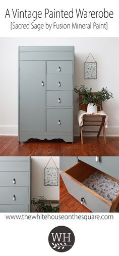 Check out this painted vintage wardrobe/armoire that I recently completed. It's painted in Sacred Sage by Fusion Mineral Paint with new knobs from D. Wardrobe Furniture, Diy Wardrobe, Vintage Wardrobe, Paint Furniture, Armoire Makeover, Furniture Makeover, Refurbished Furniture, Vintage Furniture, Vintage Armoire