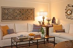 Very simple living room, cozy:-) Love the simple molding on the walls