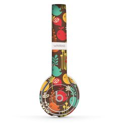 The Orange & Red Cute Vector Birds Skin Set for the Beats by Dre Solo 2 Wireless Headphones