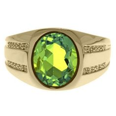 Oval-Cut Peridot and Diamond Men's Ring In Yellow Gold
