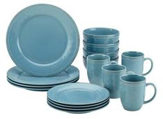 Rachael Ray 55093 Cucina Stoneware Dinnerware Set, Agave Blue ** To view further, visit…