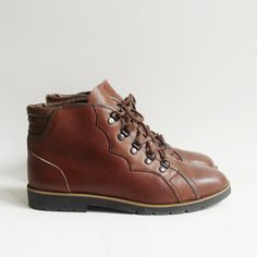 1226cabf69 boots 6.5   brown leather ankle boots   monkey boots   80s 1980s boots    workers boots   shoes 6.5   vintage boots