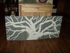 Grey tree canvas painting