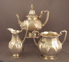 Victorian Sterling Silver Tea Set at J.H.Tee Antique Silver