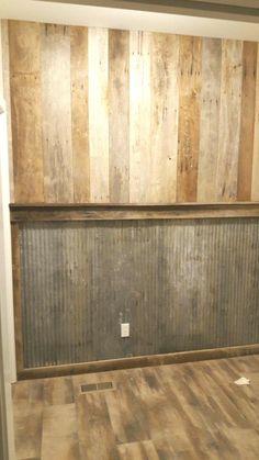 Tin interiors Rustic wall barnwood and tin - Rustic Man Cave, Rustic Barn, Barn Tin Wall, Rustic Walls, Barn Wood Walls, Zinn, The Ranch, Rustic Interiors, Basement Remodeling