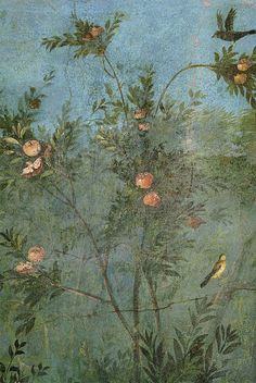Ancient Roman fresco - Pomegranate tree - Villa di Livia (Rome) - Underground…