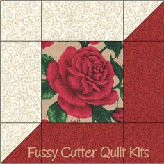 Rose Garden Red Roses Floral Fabric Easy Pre-Cut Quilt Blocks Kit