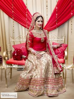 Red Sikh Wedding South Asian Bridal Lengha - more inspiration @ http://www.ModernRani.com