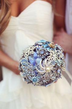 """Something borrowed, something blue"" brooch bouquet."
