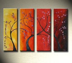 Large Asian Tree Blossom Landscape Contemporary Modern Colorful Red Painting