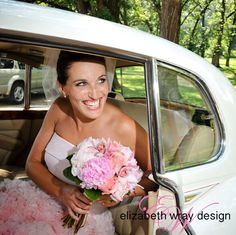 A vintage car getaway! Our bride wore a pink dress before Gwen Stefani; very trendy and fun! Elizabeth Wray Design-Geneva,IL