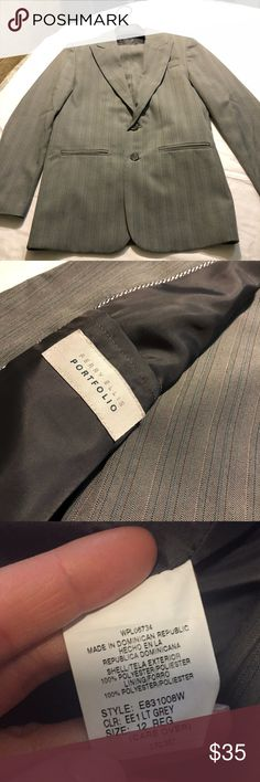 Perry Ellis Grey Pinstriped Suit Good condition used full suit. Size 12 regular-youth. Perry Ellis Matching Sets