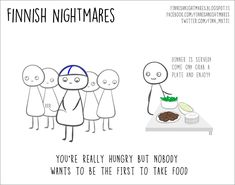 If you consider yourself an introvert then the Finnish artist Karoliina Korhonen totally understands you. By definition an introvert is someone who's shy and Finnish Memes, A Funny, Hilarious, Funny Stuff, Random Stuff, Meanwhile In Finland, Cheer Up, Funny Comics, Funny Photos