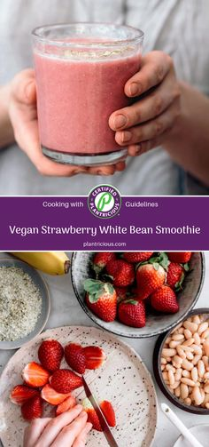 """Here are two words you probably haven't heard in the same sentence: """"bean smoothie"""". Or """"strawberries"""" and """"beans"""". When we first came across this idea, we couldn't imagine this being a tasty treat! Now that we know better, we'd like to introduce you to this vegan strawberry white bean smoothie – and hope it'll blow your mind just as much as it did ours. Strawberry Banana Smoothie, Strawberry Blueberry, Fruit Smoothies, Smoothie Prep, Smoothie Recipes, Best Vegan Protein, Vegan Shakes, Dairy Free Breakfasts, Strawberries"""