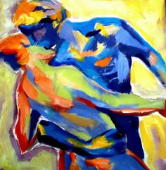 Dancing Couple Painting. Media: Acrylic on canvas. Size: 50x48 cm. (19.8x19 in.)