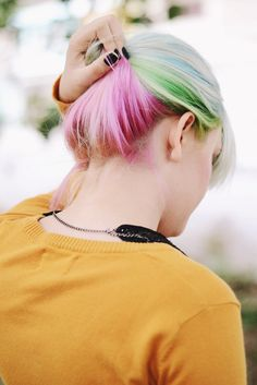 Green, purple, blue and pink hair