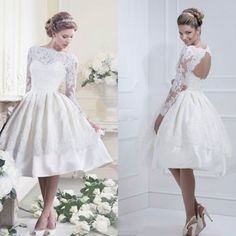 2014 new White ivory lace long Sleeve Bride short Wedding dress custom size