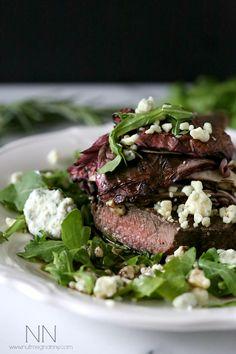 Flat Iron Steak with Balsamic Roasted Radicchio by Nutmeg Nanny