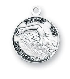 St Christopher Round Swimming Sports Saint Medal Necklace by HMH Religious