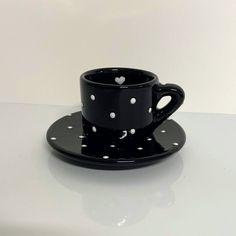 Ceramic Coffee Cups, Decoration Piece, Espresso Coffee, Hand Painted Ceramics, Barware, Tea Cups, Polka Dots, Dishes, Tableware