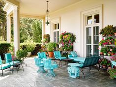 The past and present collide in this Newport Estate where it seems as though time almost stands still to invite you to go back in time. Outdoor Rooms, Outdoor Living, Outdoor Furniture Sets, Outdoor Decor, Fresco, Elephant Table, Time Stood Still, Blue Cushions, Chinoiserie Chic