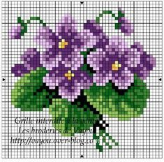 """Lovely heart things: Waiting for Spring """"Violets"""" (collection schemes) Mini Cross Stitch, Cross Stitch Cards, Simple Cross Stitch, Cross Stitch Rose, Cross Stitch Flowers, Cross Stitching, Cross Stitch Embroidery, Embroidery Patterns, Cross Stitch Designs"""