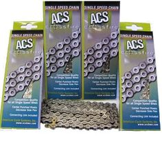 """$29.90 ACS Crossfire BMX chain High-strength for high-torque riders. Chamfered plates for quiet engagement and center-punched pins for lateral stiffness. Includes 1/2 link connector. 106 links to fit BMX, Cruiser. 1/2"""" x 3/32"""" full nickel-plated 106 Link long."""