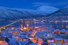 Magnificent view of Tromsø at night