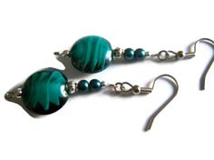 Teal Blue Lampwork Glass Earrings Silver Black by chicagolandia,
