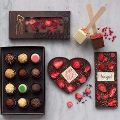 The Passion Collection (Large) - Give a whole lot of love with this gorgeous set that contains gourmet chocolate bars including one in a heart shape, hot chocolate spoons, and the complete 12-piece mixed truffle set. - www.chocomize.com