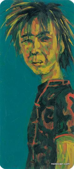 """""""China Punk"""" by Jeff Wrench. Acrylic on paint chip (about 7.5 x 3.25 inches)."""