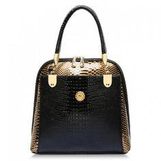 Sleek Snakeskin Handbag - Black