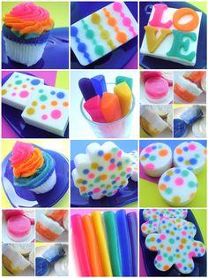 Rainbow of happy soaps from Sunbasilgarden Soap.