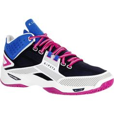 51a1d4f172059 Chaussures mid femme de volley-ball V500 bleues et blanches ALLSIX. GROUPE  7 SPORTS COLLECTIFS ...