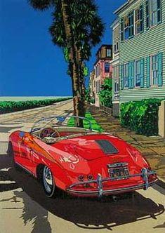 Getting through in the Speeds by Eizin Suzuki Noon Love Illustration, Landscape Illustration, Porsche 356 Speedster, Porsche 911, Mobile Art, California Art, Mid Century Art, Car Drawings, Automotive Art