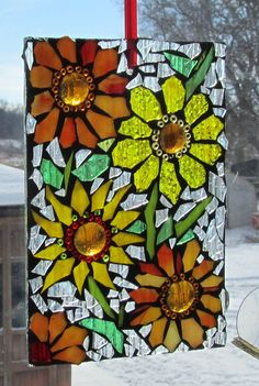 Flowers Mosaic, WALL Art Panel, window panel, SUNCATCHER
