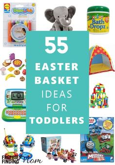 Need Easter basket ideas for toddlers? Here you'll find 55 Easter basket ideas for boys and girls that they are sure to love! Fill your kids' Easter baskets with bubbles, bath toys, dress up clothes, and even their favorite treats like Goldfish crackers, Easter Baskets For Toddlers, Boys Easter Basket, Easter Crafts For Kids, Easter Gift, Easter Food, Easter Subday, Easter Snacks, Easter 2020, Hoppy Easter