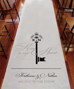 Not only does this aisle runner have an elegant key with your monogram featured - it also has room for a personalized message to your guests and yourselves as you walk down the aisle into a new life. Order & personalize online! http://www.favorfavor.com/page/FF/PROD/WS9299-P-1221