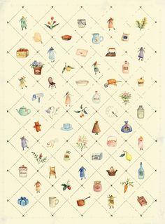 ガーリーなレター : 水彩イラスト 川副美紀 MIKI KAWAZOE Illustrations (watercolor)