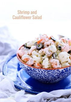 This cool and creamy salad featuring cauliflower, shrimp, and black olives is perfect for summer! The fact that it's also low carb is a bonus!