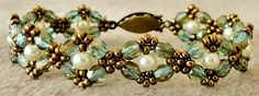 """Linda's Crafty Inspirations: February 2014--DOUBLE DIAMOND WITH PEARLS 11/0 seed beads Miyuki """"Dark Bronze"""" (11-457D) 4mm fire polished beads """"Aquamarine Celsian"""" 4mm ivory pearls--Free Pattern"""